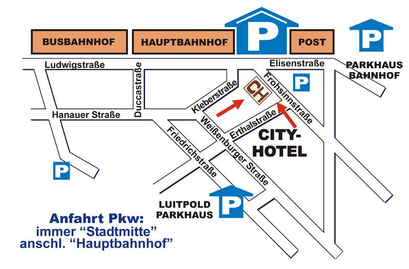 City Hotel Aschaffenburg - Anfahrtsplan